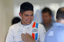 Esteban Ocon at the garage