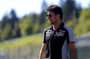 Sergio Perez walks the track