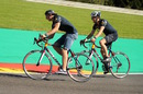 Max Verstappen rides a bike on track