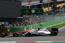 Valtteri Bottas and Sebastian Vettel battle for a position
