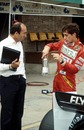Ayrton Senna and Frank Williams discuss progress in testing at Donington in 1983