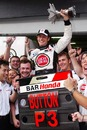 Jenson Button celebrates his first podium in Malaysia