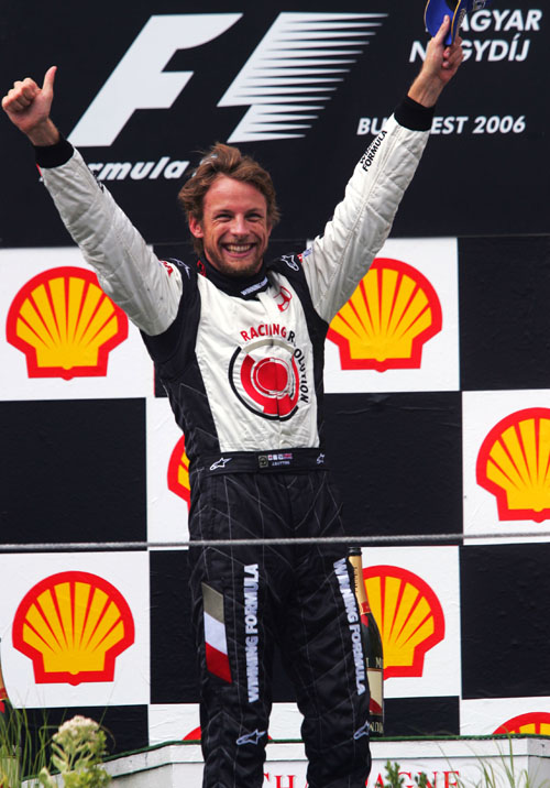 Jenson Button celebrates his first race victory at the 2006 Hungarian Grand Prix