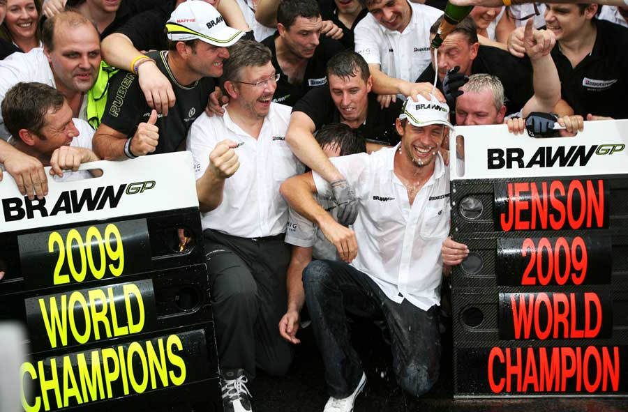 Jenson Button and Brawn celebrate their double