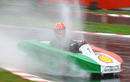 Michael Schumacher gets to grips with wet conditions at Massa's charity race