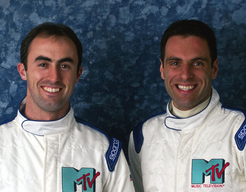 Simtek's David Brabham (L) and Roland Ratzenberger