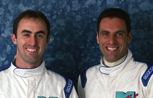 David Brabham (L) and Simtek team-mate Roland Ratzenberger
