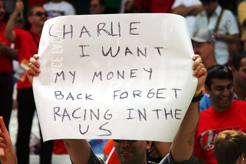 A blunt message from a US race fan before the 2005 United States Grand Prix at Indianapolis started with only six cars on the grid