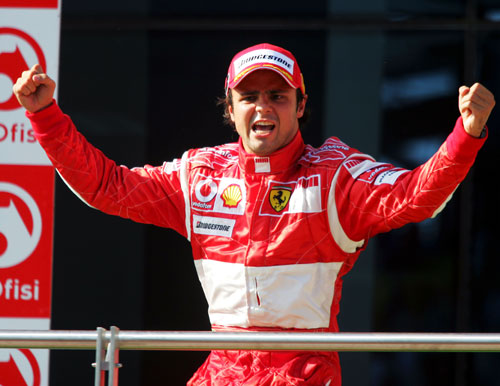 Felipe Massa celebrates his first grand prix victory at the Turkish Grand Prix