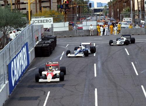 Ayrton Senna leads Jean Alesi en route to winning the US Grand Prix in Phoenix, Arizona
