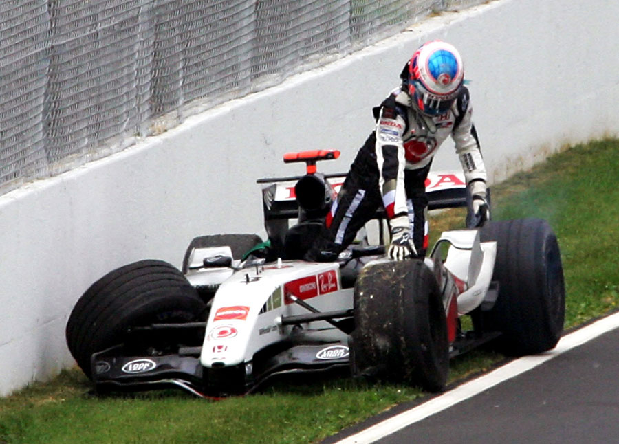 Jenson Button crashes out of the Canadian Grand Prix
