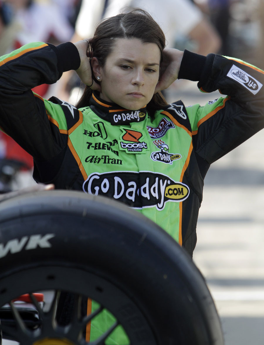 An angry Danica Patrick waits to talk to the press