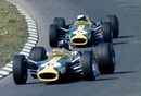 Graham Hill leads Lotus team-mate Jim Clark