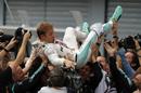 Nico Rosberg celebrates in parc ferme