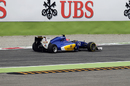 Felipe Nasr with a rear puncture after collision