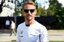 Jenson Button walks through the paddock