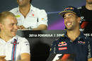 Daniel Ricciardo and Valtteri Bottas smile during the press conference
