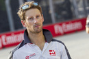 Romain Grosjean walks the track
