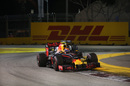 Max Verstappen works hard to keep his pace