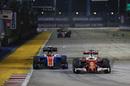 Sebastian Vettel tries to pass Pascal Wehrlein