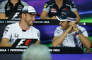 Jenson Button and Felipe Massa chat in the Thursday press conference