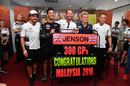 Jenson Button celebrates his 300th Grand Prix