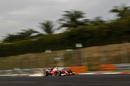 Sparks fly from Kimi Raikkonen's Ferrari