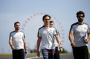 Esteban Gutierrez walks the track with engineers