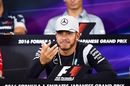 Lewis Hamilton talks to media in the press conference