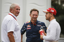 Helmut Marko, Christian Horner and Sebastian Vettel talk in the paddock