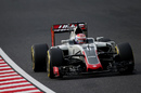 Romain Grosjean at speed in the Haas