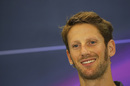 A smiling Romain Grosjean during the press conference