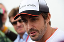Fernando Alonso answers questions during the interview