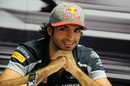 Carlos Sainz speaks to media