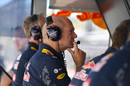 Adrian Newey watches qualifying in the pitwall