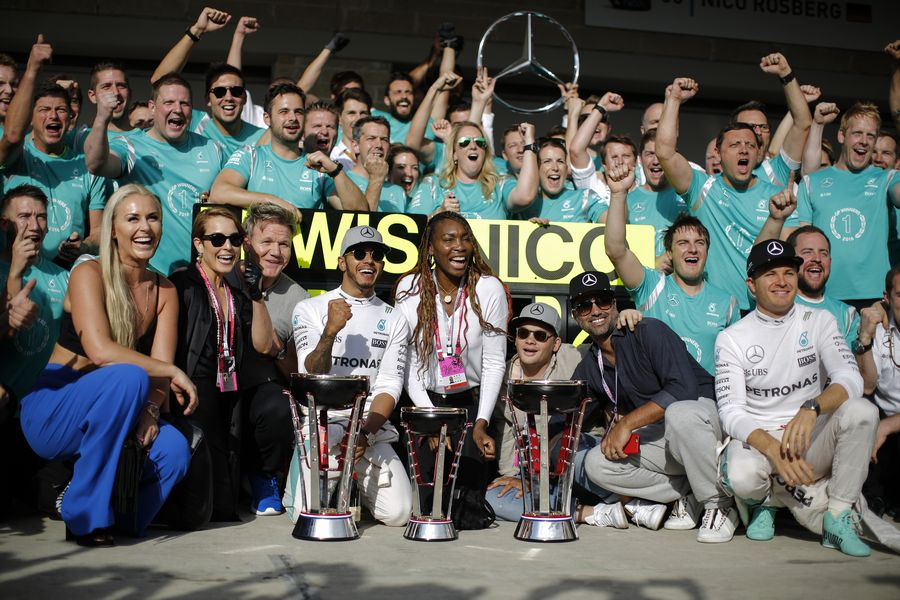 Mercedes celebrates for the 1-2 finish with guests