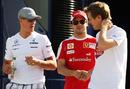 Michael Schumacher, Felipe Massa and Sebastian Vettel swap stories after practice