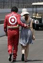 Dario Franchitti walks with his wife, actress Ashley Judd, following the final practice session for the Indianapolis 500