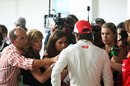 Fernando Alonso faces the media after a poor Q2