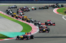 Mark Webber leads team-mate Sebastian Vettel at the start of the Turkish Grand Prix