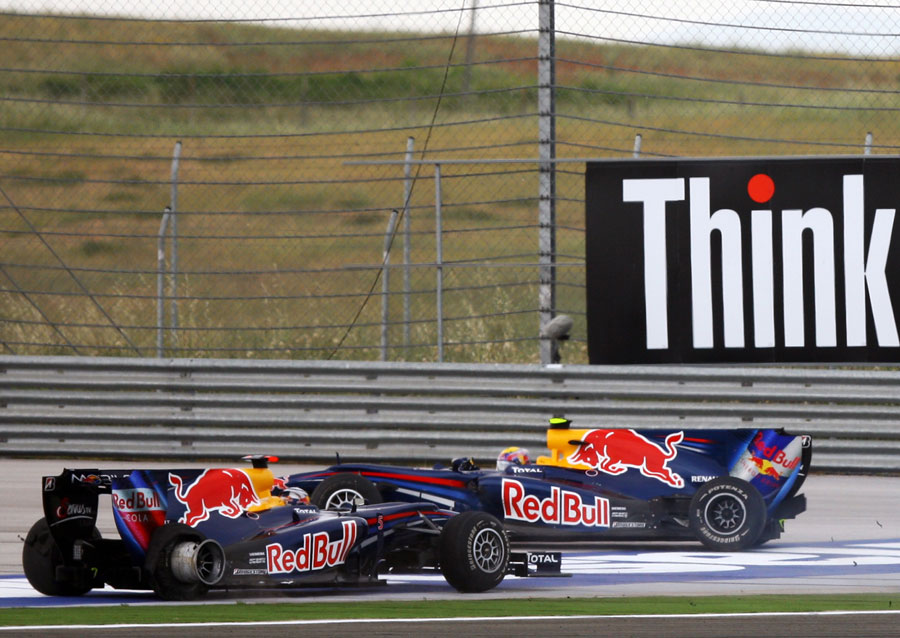 The end for Sebastian Vettel after his collision with Mark Webber