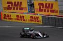 Nico Rosberg works hard to keep his pace