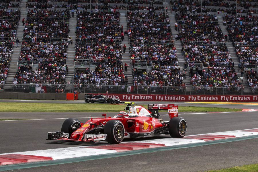 Kimi Raikkonen at speed in the Ferrari
