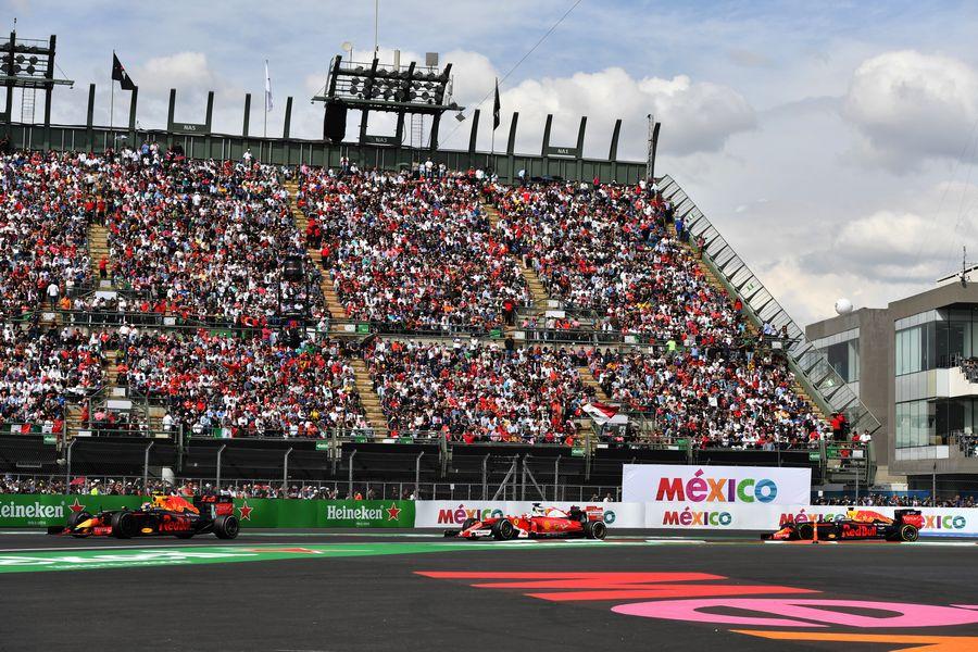 Max Verstappen battles with Sebastian Vettel and Daniel Ricciardo in the end of the race