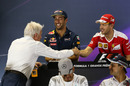 Sebastian Vettel and Charlie Whiting shake hands in the Press Conference