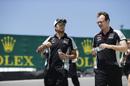 Sergio Perez walks the track on Thursday
