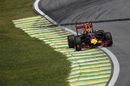 Sparks fly from Max Verstappen's Red Bull