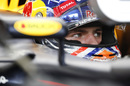 Max Verstappen sits in the Red Bull cockpit