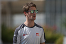 Romain Grosjean arrives at the circuit
