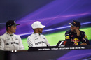 Lewis Hamilton, Nico Rosberg and Daniel Ricciardo smile in the press conference after qualifying